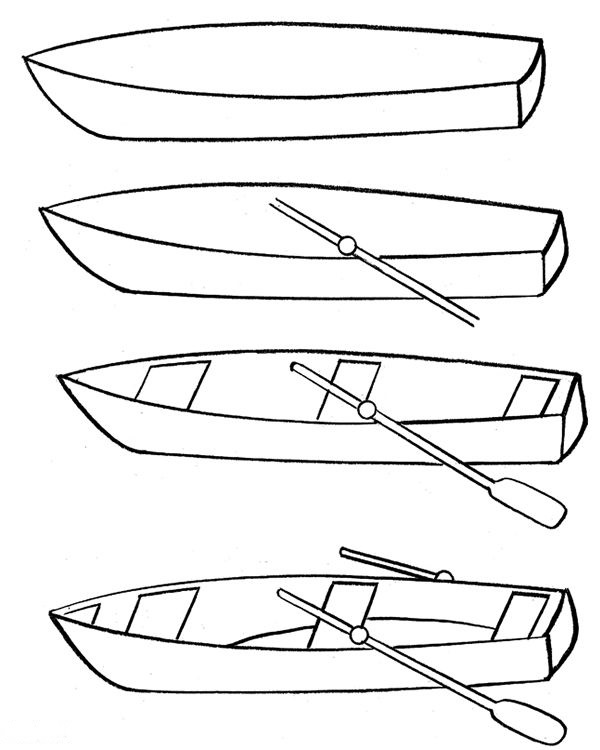 How to draw a boat step-by-step 1