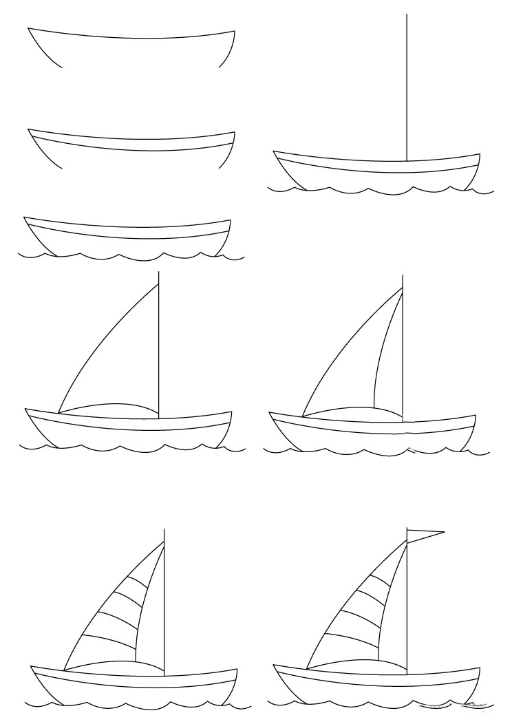 How to draw a boat step-by-step 11