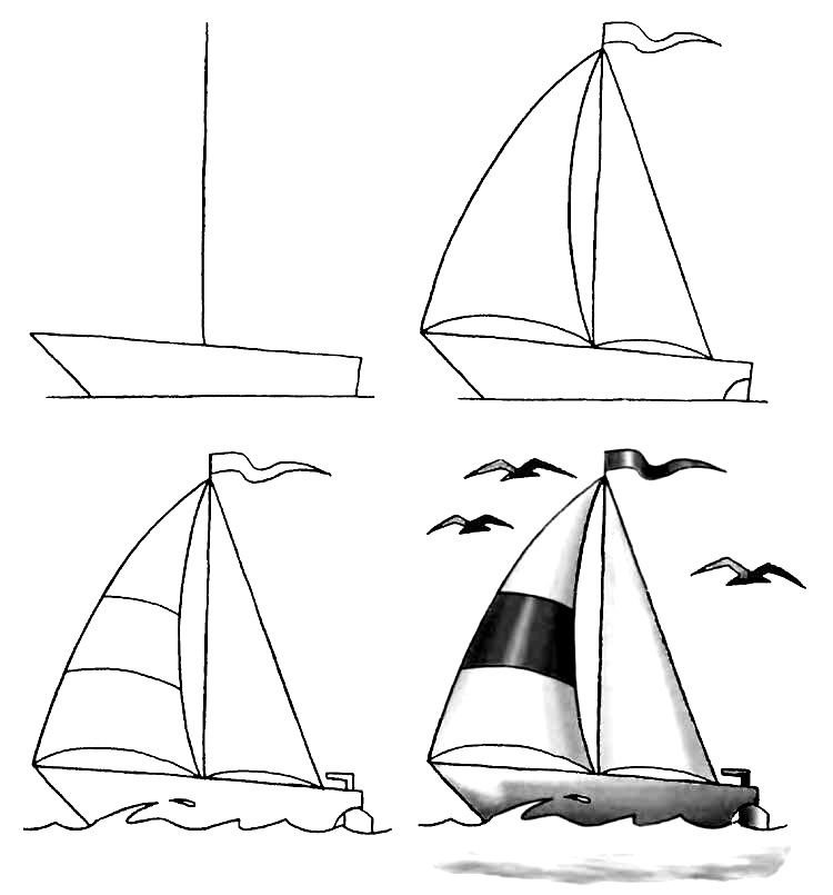 How to draw a boat step-by-step 4