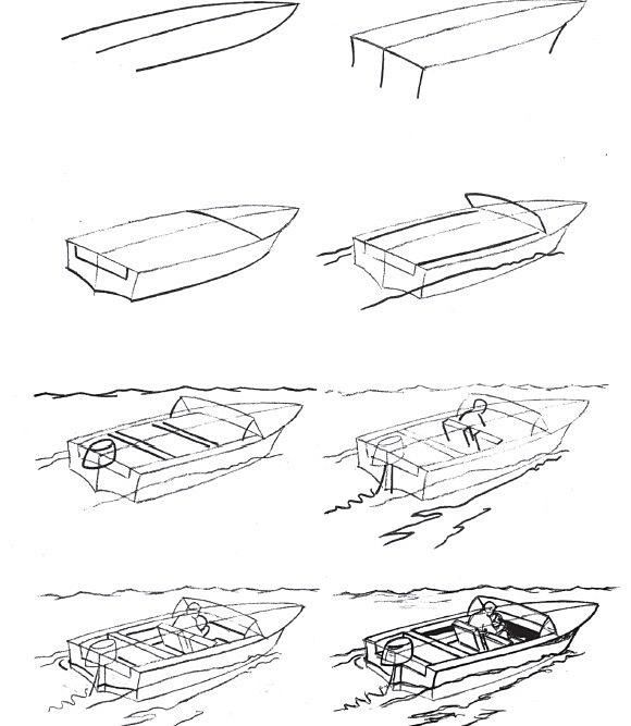 How to draw a boat step-by-step 9