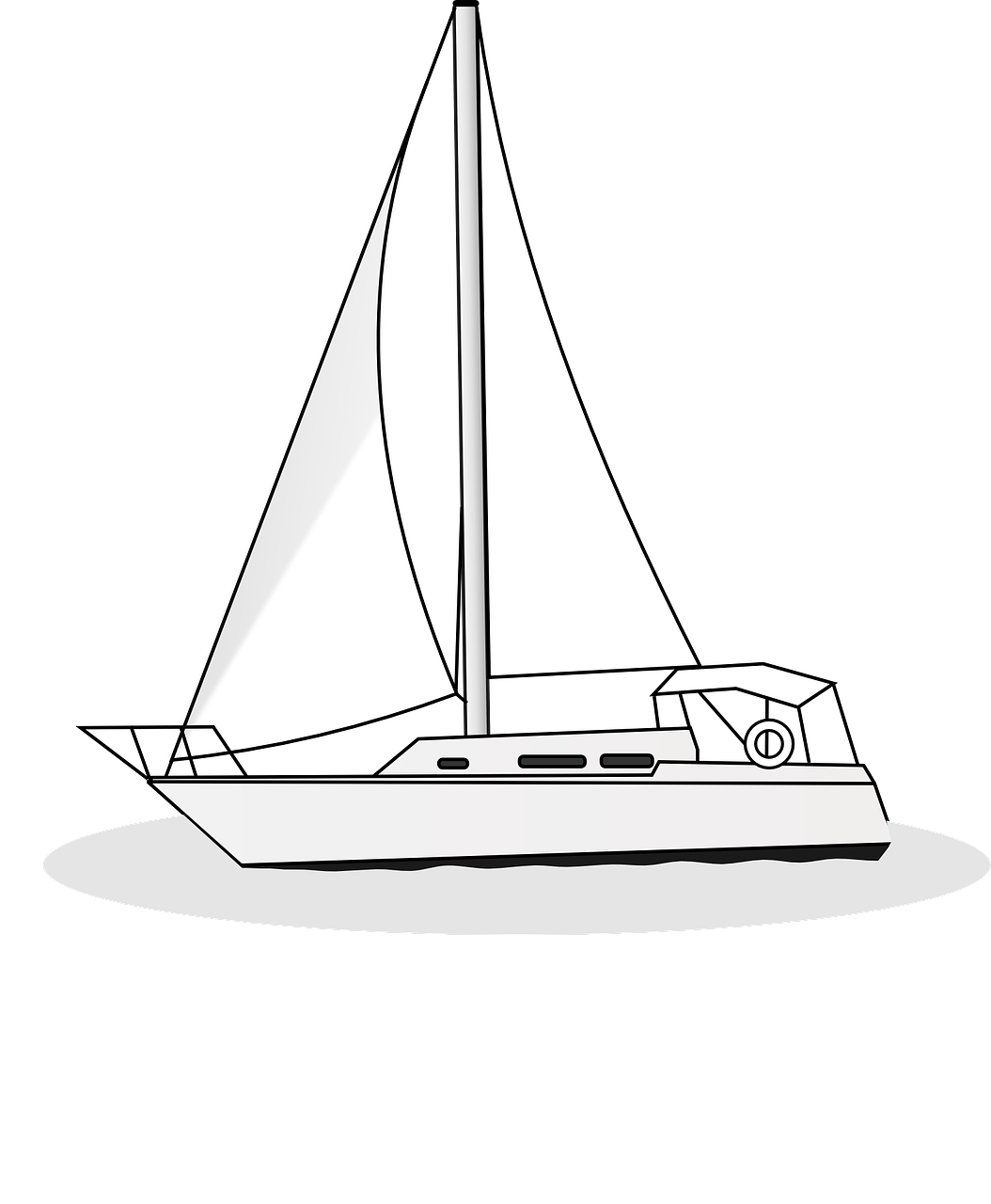 How to draw a boat. stencils 6