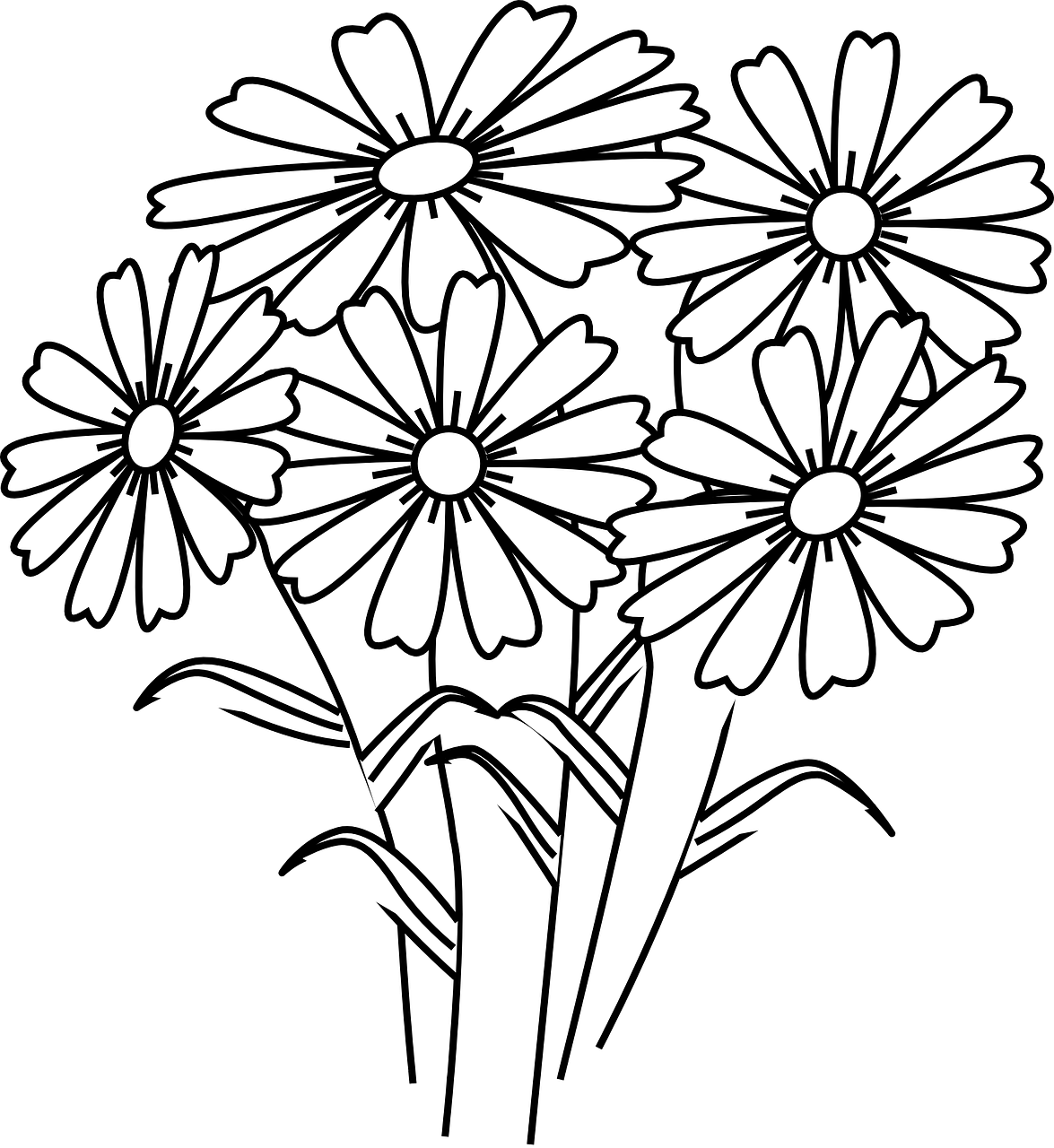 Wildflowers drawing - coloring pages free for kids 5