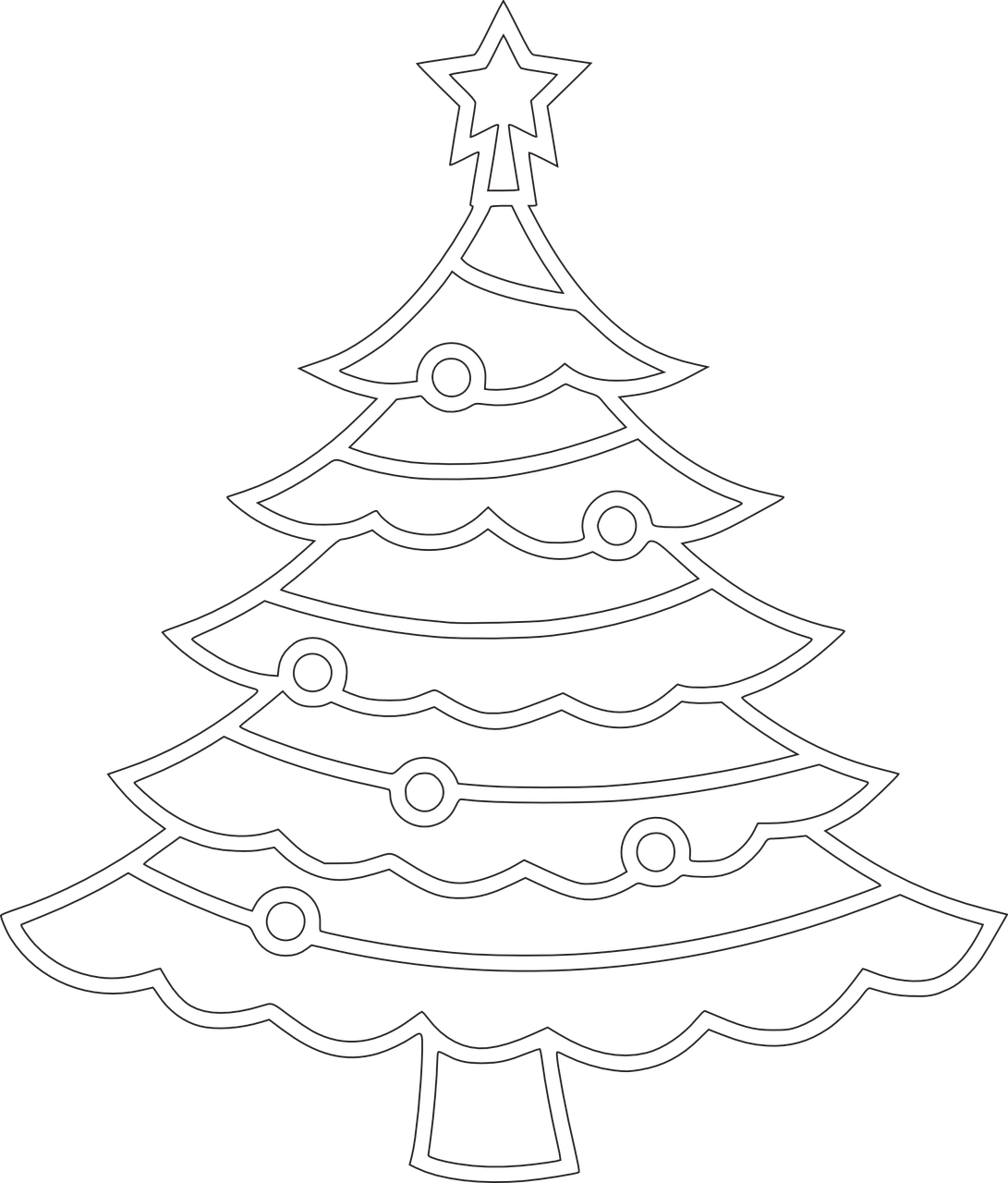 how to draw a Christmas tree, coloring 4