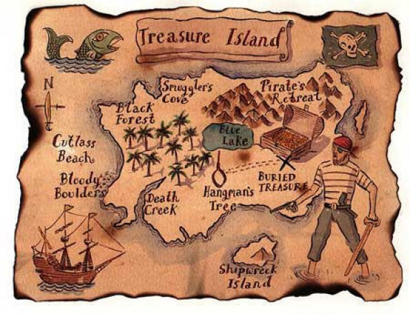 how to draw a treasure map, pirates map 3