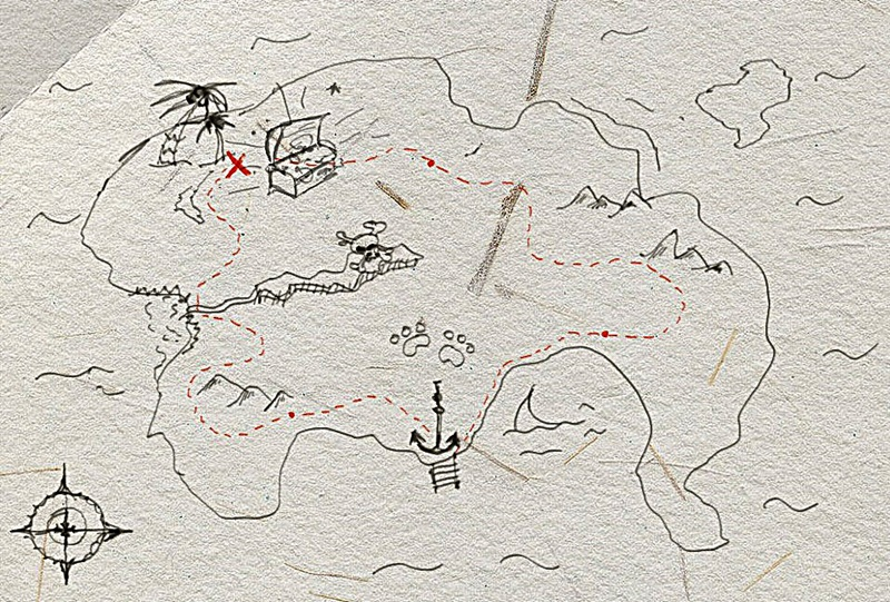 how to draw a treasure map, pirates map 4