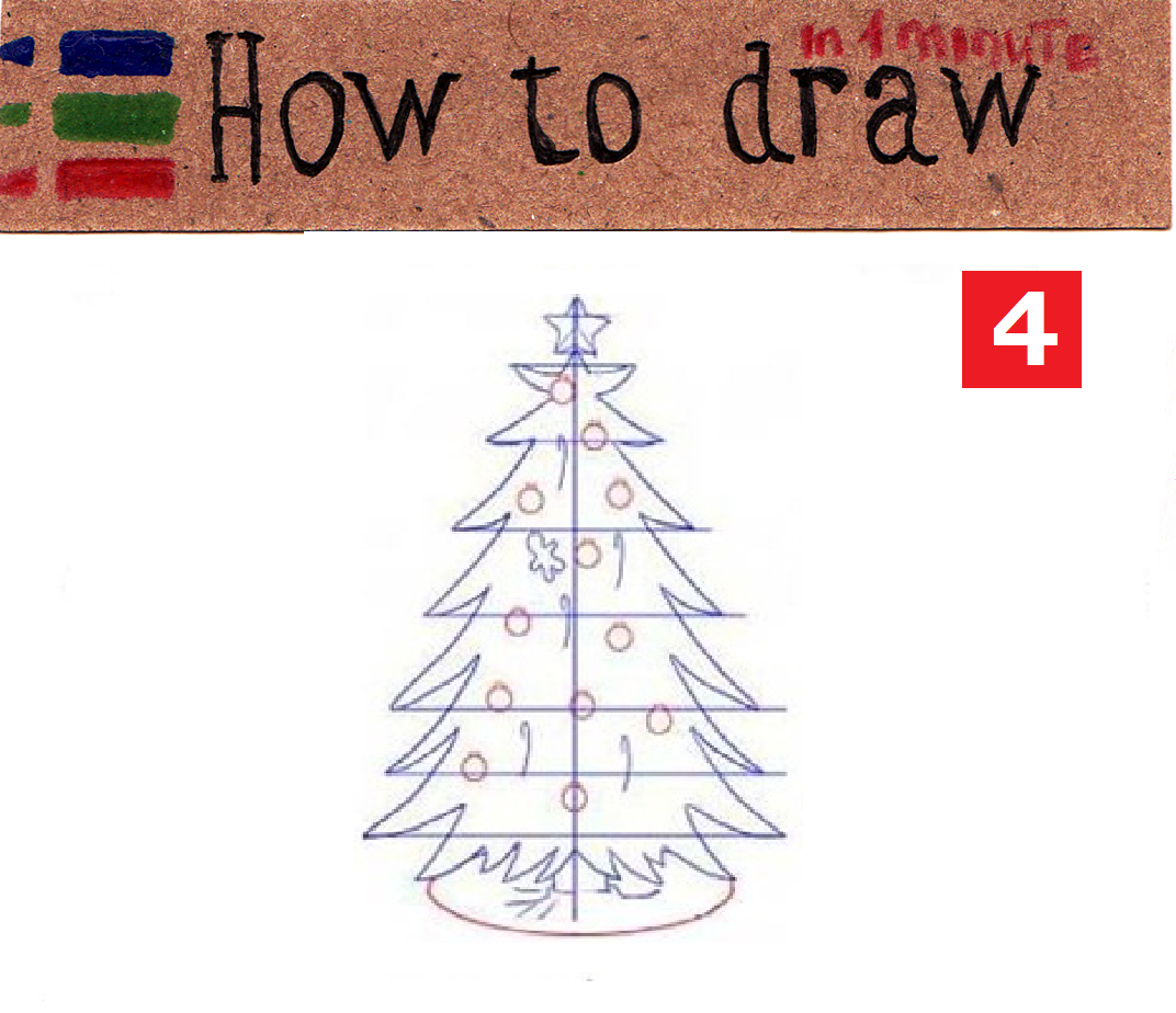 How to draw a Christmas tree step by step, easy 6 step tutorial