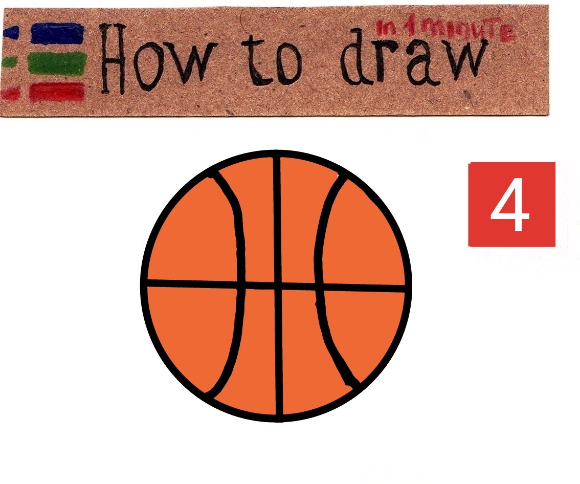 How to draw a basketball - step by step tutorial