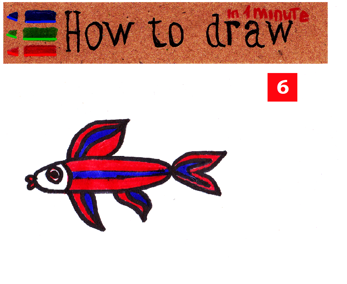 How to draw a fish easily