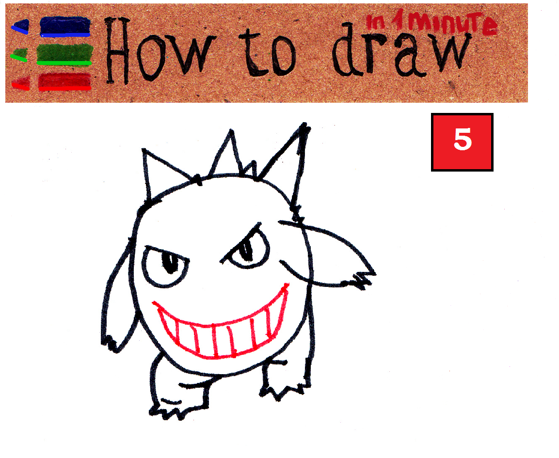How to draw Gengar Pokemon step by step