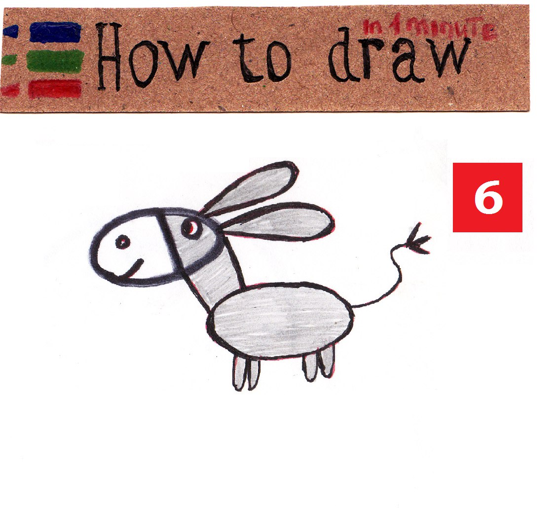 How to draw a donkey - a simple lesson for kids