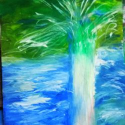 Paintings for interior - impressionism style, drawing tree