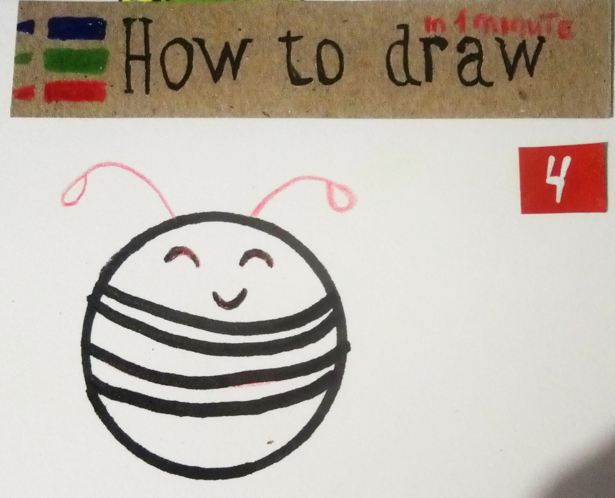How to draw a bee, step by step lesson