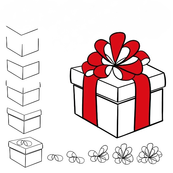 How to draw a Christmas present - 8 easy lessons for children