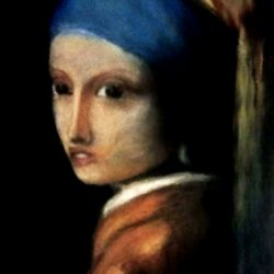 """Painting for the interior: realistic portrait based on Johannes Vermeer """"Girl with a Pearl Earring"""""""