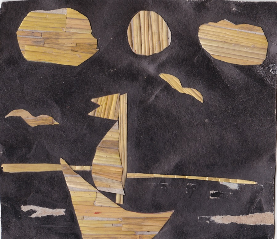 Applique of straw. Boat on the sea