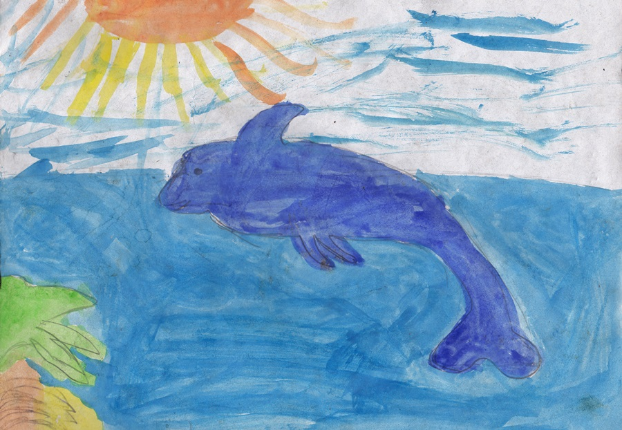 Big fish in the sea сhildren drawing