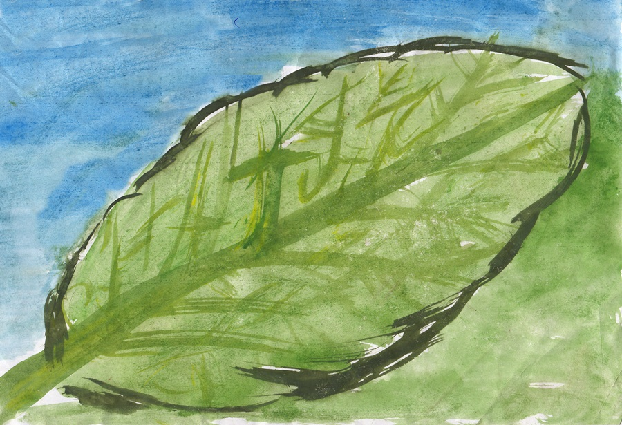 Green leaf: сhildren drawing