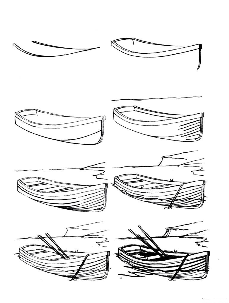 How to draw a boat step-by-step 12