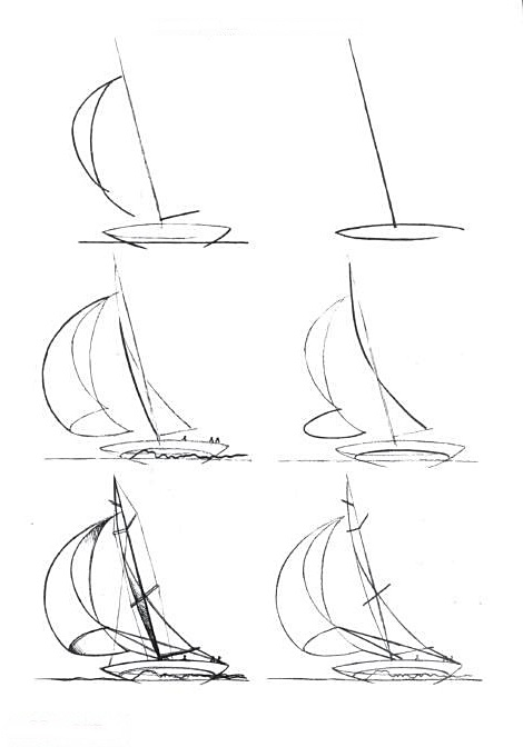 How to draw a boat step-by-step 2