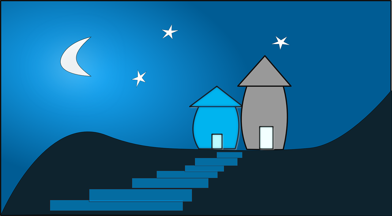How to draw night, night landscape 3