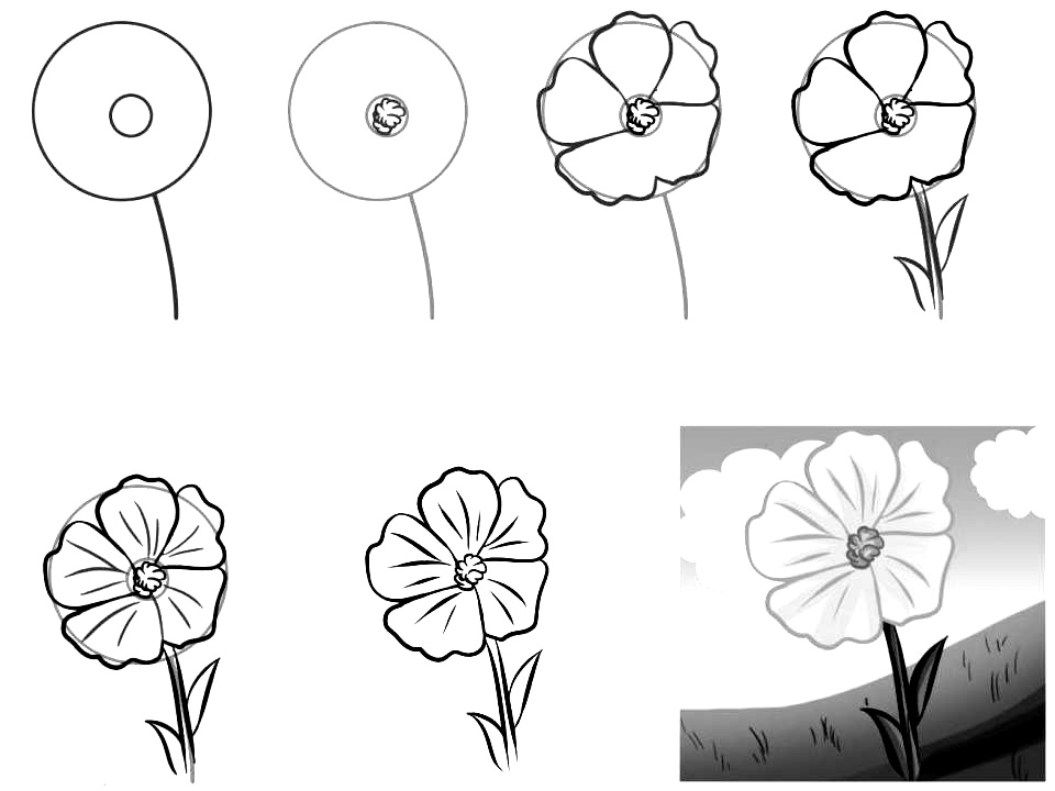 How to draw a simple flower step by step with pencil 18 for How to draw a basic flower