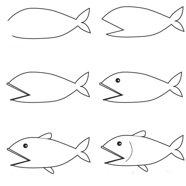 How to make a fish with pencil 10 step by step lessons part 5