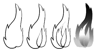 how to draw flames step by step easy