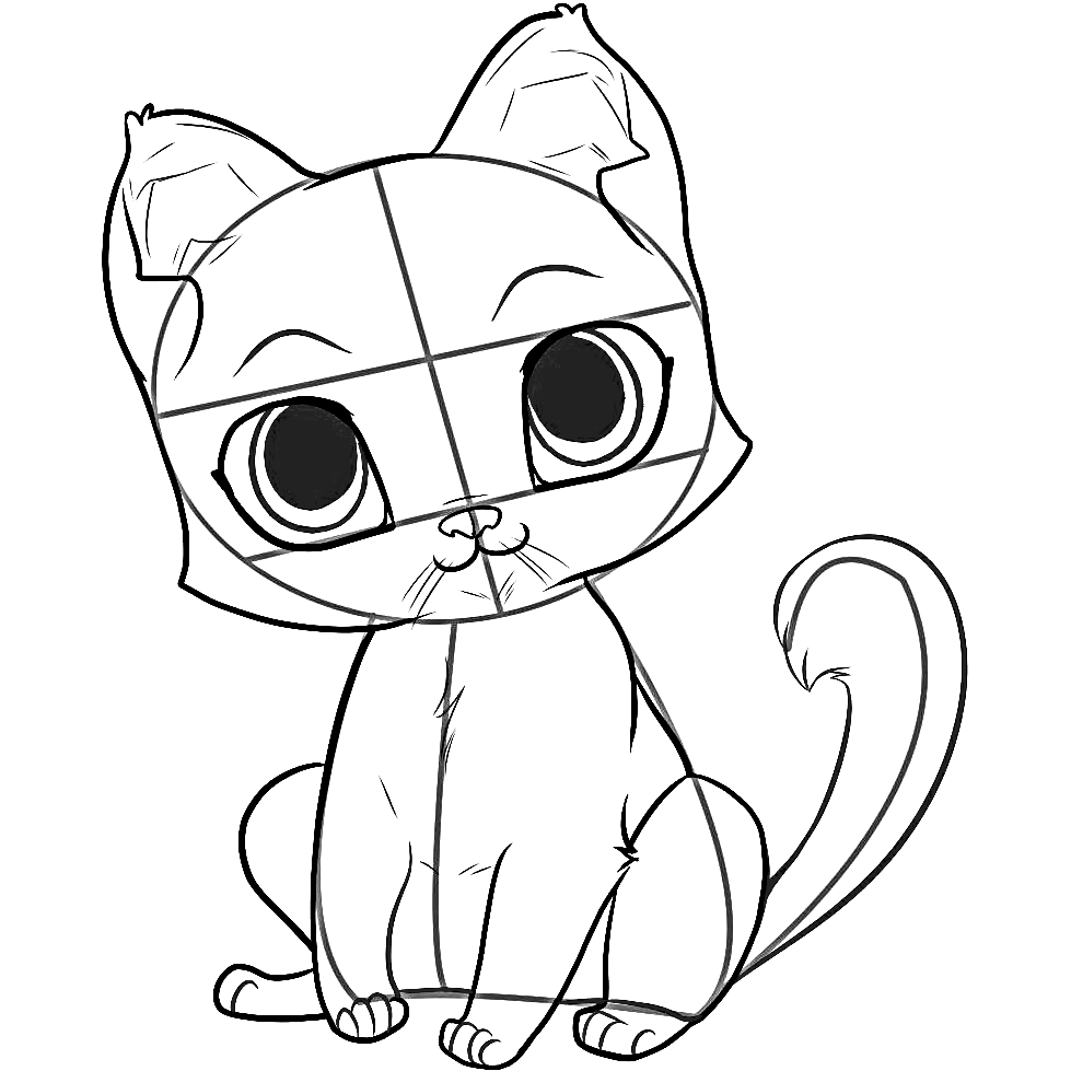How to draw anime cat - 10 step-by-step drawing instructions for beginners